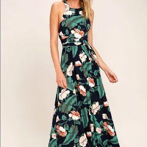 NWT Lulus Navy Floral Maxi Dress